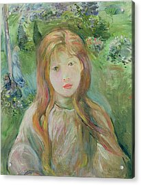 Little Girl At Mesnil, 1892 Acrylic Print by Berthe Morisot