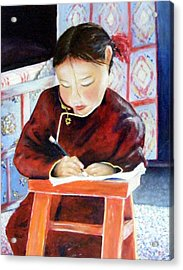 Little Girl From Mongolia Doing Her Homework Acrylic Print by Barbara Jacquin