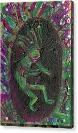 Little Kokopelli Green Acrylic Print by Anne-Elizabeth Whiteway
