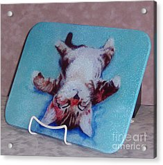 Little Napper Cutting And Serving Board Acrylic Print by Pat Saunders-White