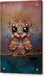 Little Rainbow Flower Owl Acrylic Print by Karin Taylor