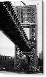Little Red Lighthouse Beneath The George Washington Bridge Hudson River New York Nyc Acrylic Print by Joe Fox