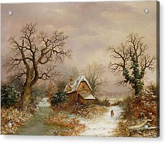Little Red Riding Hood In The Snow Acrylic Print by Charles Leaver
