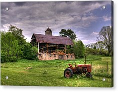 Little Red Tractor Acrylic Print by David Simons