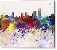 Little Rock Skyline In Watercolor Background Acrylic Print by Pablo Romero