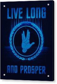 Live Long And Prosper Spock's Hand Leonard Nimoy Geek Tribut Acrylic Print by Philipp Rietz
