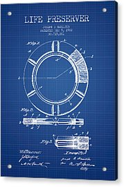 Live Preserver Patent From 1902 - Blueprint Acrylic Print by Aged Pixel