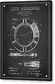 Live Preserver Patent From 1902 - Charcoal Acrylic Print by Aged Pixel