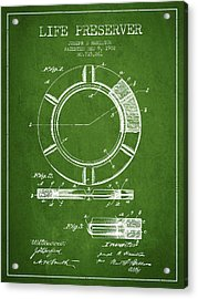 Live Preserver Patent From 1902 - Green Acrylic Print by Aged Pixel