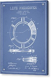 Live Preserver Patent From 1902 - Light Blue Acrylic Print by Aged Pixel