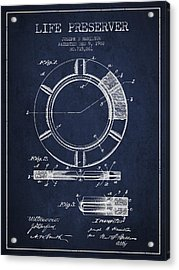 Live Preserver Patent From 1902 - Navy Blue Acrylic Print by Aged Pixel