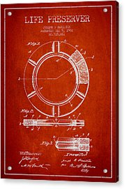 Live Preserver Patent From 1902 - Red Acrylic Print by Aged Pixel