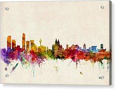 Liverpool England Skyline Acrylic Print by Michael Tompsett