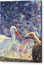Living Between Beaks Acrylic Print by James W Johnson