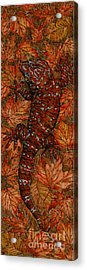 Lizard In Red Nature - Elena Yakubovich Acrylic Print by Elena Yakubovich