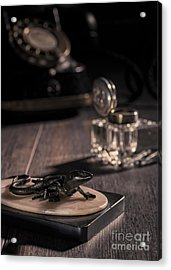 Lizard Paperweight Acrylic Print by Amanda And Christopher Elwell