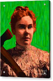Lizzie Bordon Took An Ax - Painterly - Green Acrylic Print by Wingsdomain Art and Photography