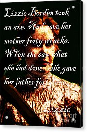 Lizzie - With Text Acrylic Print by Wingsdomain Art and Photography