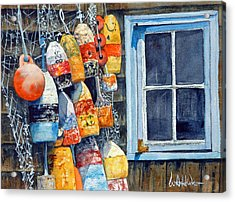 Lobster Buoys Acrylic Print by Bill Hudson