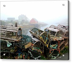 Lobster Traps And Fog Acrylic Print by Tracy Munson