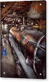 Locomotive - Routine Maintenance  Acrylic Print by Mike Savad