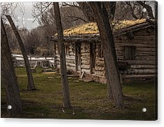 Log Cabin By The River Acrylic Print by David Kehrli