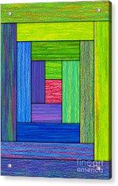 Log Cabin Card Acrylic Print by David K Small