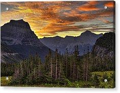 Logan Pass Sunrise Acrylic Print by Mark Kiver