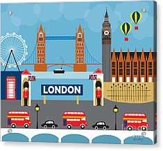 London England Skyline By Loose Petals Acrylic Print by Karen Young