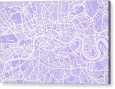 London Map Lilac Acrylic Print by Michael Tompsett