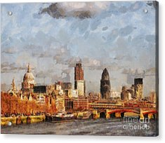 London Skyline From The River  Acrylic Print by Pixel Chimp