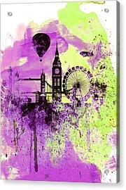 London Skyline Watercolor 1 Acrylic Print by Naxart Studio