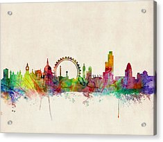London Skyline Watercolour Acrylic Print by Michael Tompsett