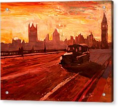 London Taxi Big Ben Sunset With Parliament Acrylic Print by M Bleichner