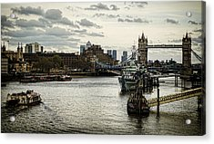 London Thames Scape Acrylic Print by Heather Applegate