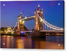 London - Tower Bridge During Blue Hour Acrylic Print by Melanie Viola
