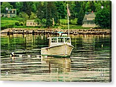 Lone Boat Acrylic Print by Darren Fisher