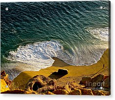 Lone Hiker At Sunset On Secluded Beach At Cabo San Lucas Acrylic Print by Sean Griffin