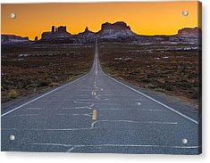 Long Road To Monument Valley Acrylic Print by Larry Marshall