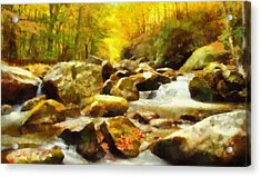 Looking Down Little River In Autumn Acrylic Print by Dan Sproul