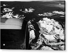 Looking Out Of Aircraft Window Past Engine And Over Snow Covered Fjords And Coastline Of Norway Euro Acrylic Print by Joe Fox