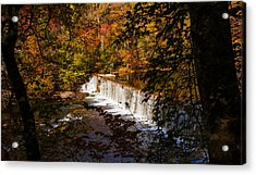 Looking Through Autumn Trees On To Waterfalls Fine Art Prints As Gift For The Holidays  Acrylic Print by Jerry Cowart