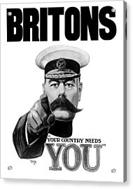 Lord Kitchener - Britons Your Country Needs You Acrylic Print by War Is Hell Store