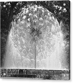 Loring Fountain Black-and-white Acrylic Print by Rashelle Brown
