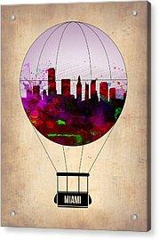 Miami Air Balloon 1 Acrylic Print by Naxart Studio