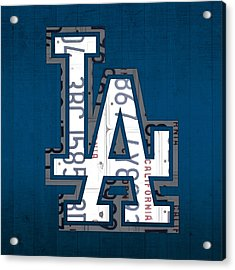 Los Angeles Dodgers Baseball Vintage Logo License Plate Art Acrylic Print by Design Turnpike
