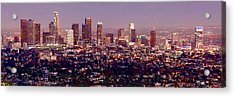 Los Angeles Skyline At Dusk Acrylic Print by Jon Holiday