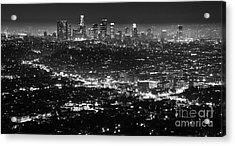 Los Angeles Skyline At Night Monochrome Acrylic Print by Bob Christopher