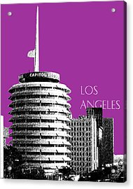 Los Angeles Skyline Capitol Records - Plum Acrylic Print by DB Artist