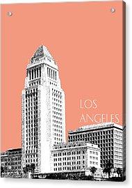 Los Angeles Skyline City Hall - Salmon Acrylic Print by DB Artist